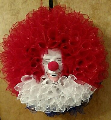 Creepy Clown Deco Mesh Halloween Wreath
