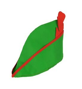 Peter Pan Robin Hood Green Hat Cap Red Feather Hook Fairytail Panto Fancy Dress