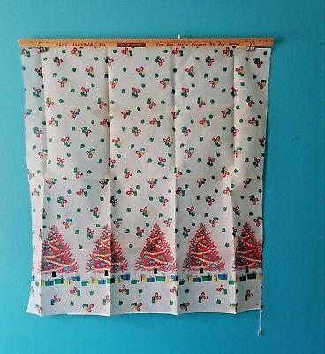 Used, VINTAGE Fabric CHRISTMAS BORDER PRINT Yardage Mid Century Modern TREES ORNAMENTS for sale  Chicago