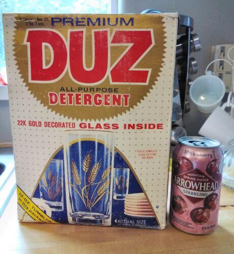 Vtg Unopened DUZ Laundry Detergent Soap Box w PREMIUM 22K Decorated Wheat Glass