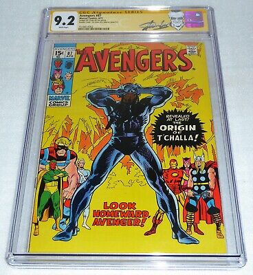 Avengers #87 2x Cover CGC SS Signature Autograph Origin Black Panther STAN LEE