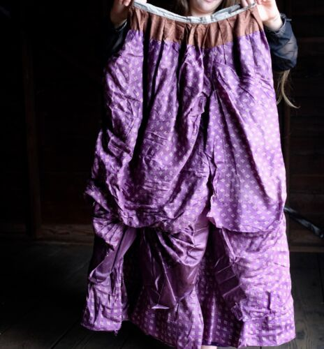 "Victorian Bustle Skirt Purple 24"" Waist XS Historical 1880s Fashion Steampunk"