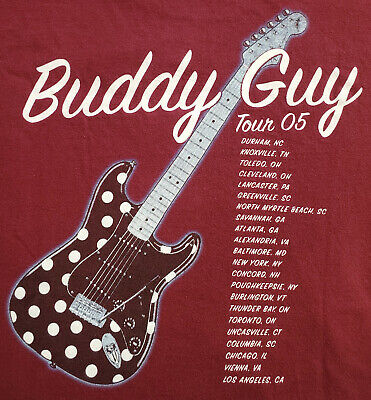 🔥 Awesome! 🔥 Rare! 🔥 Vintage BUDDY GUY 2005 Tour T-shirt M L XL 44 chest