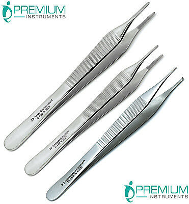 Surgical Forceps Tissue Dressing Adson Tweezers 12cm 15cm Kocher 1x2 Set Of 3