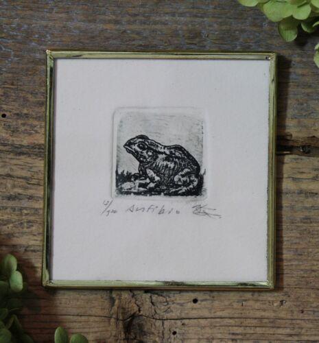 Sm Frog Print Etching Amphibian Handmade Brass Framed by Abelar Mexican Folk Art