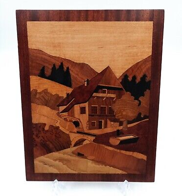 Vintage Inlaid Wood Marquetry Picture Of a House in The Mountains