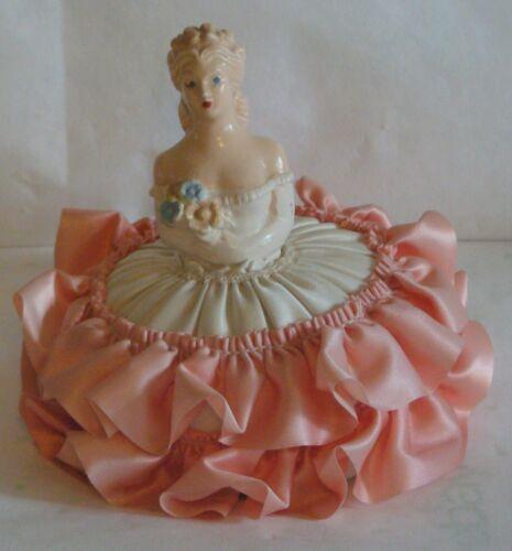 Antique Lace Victorian Chalkware Lady Half Doll Dress Pin Cushion Salmon Skirt