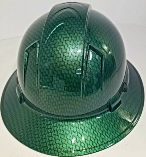 NEW FULL BRIM Hard Hat custom hydro dipped MONEY GREEN BIG WEAVE CARBON FIBER  2