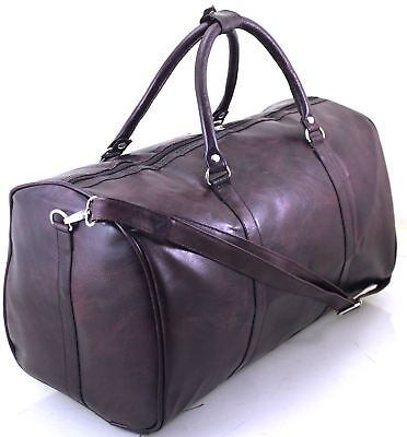 New Italian Leather Style Holdall Luggage Weekend Duffel Cabin Travel Bag Case , used for sale  Shipping to United States