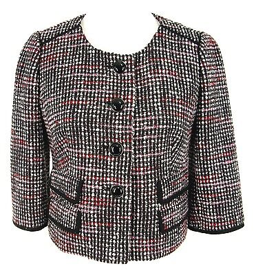 Ann Taylor Jacket 4 Women Cotton Wool Tweed Cropped Retro Style Jackie O Blazer