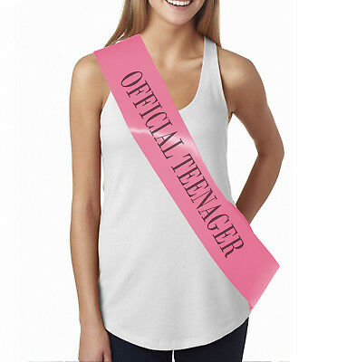 OFFICIAL TEENAGER 13th Birthday sash ribbon Party Decoration Girls 13 Pink sash  ()