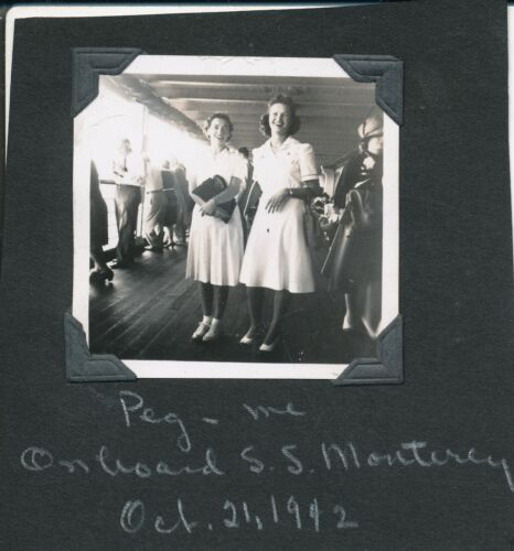 WWII Oct  21 1942 two gals, Peg & me,  SS Monterey Hawaii photo