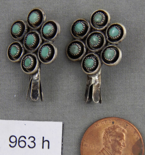 Early Zuni Snake Eye Sterling & Turquoise Squash Blossoms, Earrings? or ?