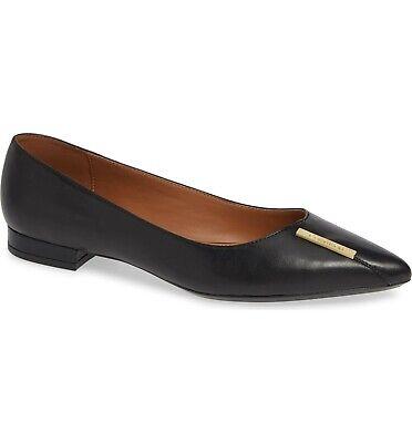 Calvin Klein Womens Slip (CALVIN KLEIN ARLINE NAPPA LEATHER BLACK WOMEN'S FLAT SLIP ON SHOES MULTISIZE)