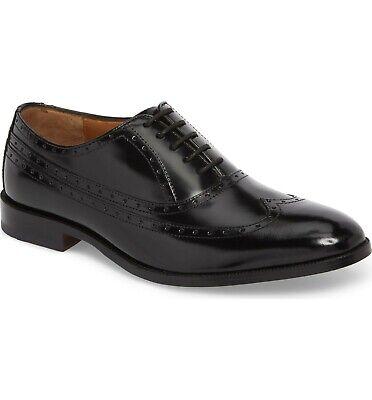 Johnston & Murphy Bradford Black Leather Wingtip Oxford Dress Shoe 15-2641