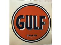 "GULF-4 GAS PUMP LUBSTER 28/"" 1936-54 GULF GASOLINE DECAL OIL CAN"