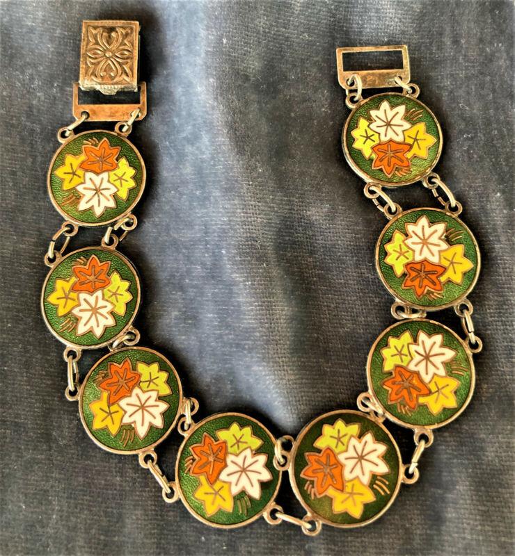 """Vintage Enamel Cloisonne Link Bracelet 7"""""""