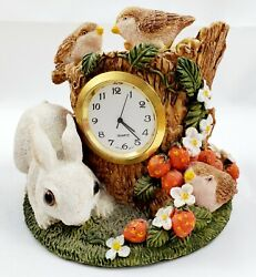 Vintage~Unique~Small Desk Clock~Polyresin Gold Trim~Bunny~Birds & Strawberries.