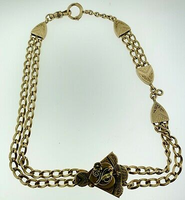 ANTIQUE FANCY~14Kt GOLD~POCKET WATCH ALBERT CHAIN & SLIDE FOB 45 GRAMS