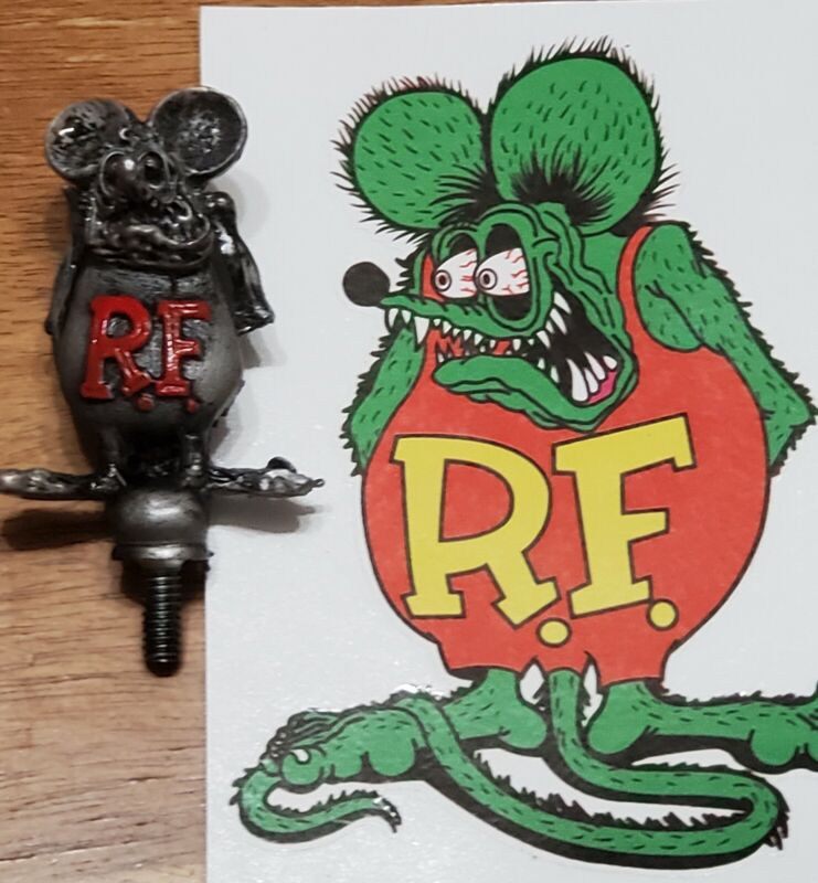 ☆☆L@@K☆☆VINTAGE☆RAT FINK HOT ROD☆HOOD ORNAMENT☆BIG DADDY ED ROTH  CLUB☆FREE SHIP