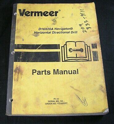 Vermeer Navigator D16x20a Directional Drill Boring Parts Manual Book Catalog Oem