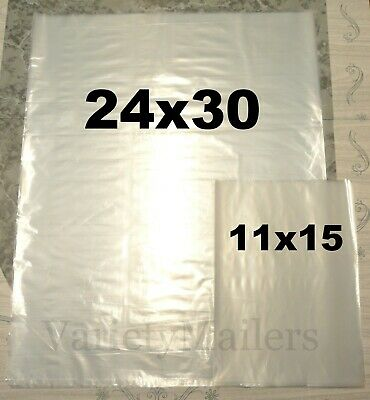 90 Clear Plastic Merchandise Bag Combo 11x15 24x30 Expedited Shipping