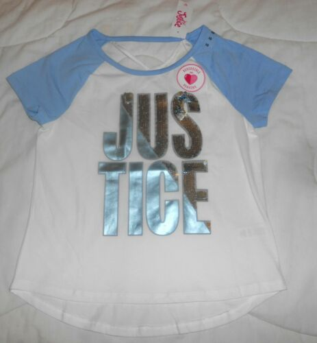 GIRLS JUSTICE LIGHT BLUE & WHITE SILVER SEQUINS T-SHIRT SZ 10 NWT