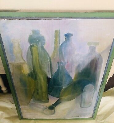 Vintage signed abstract painting on board R. Muray 19x26