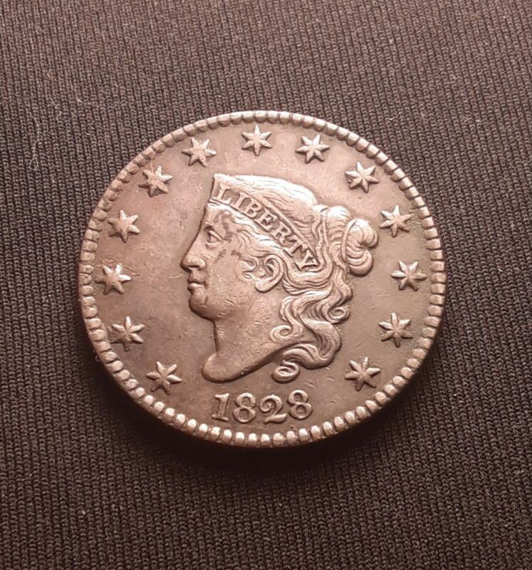 1828 Coronet Head Large Cent, Large Date - VF Very Fine