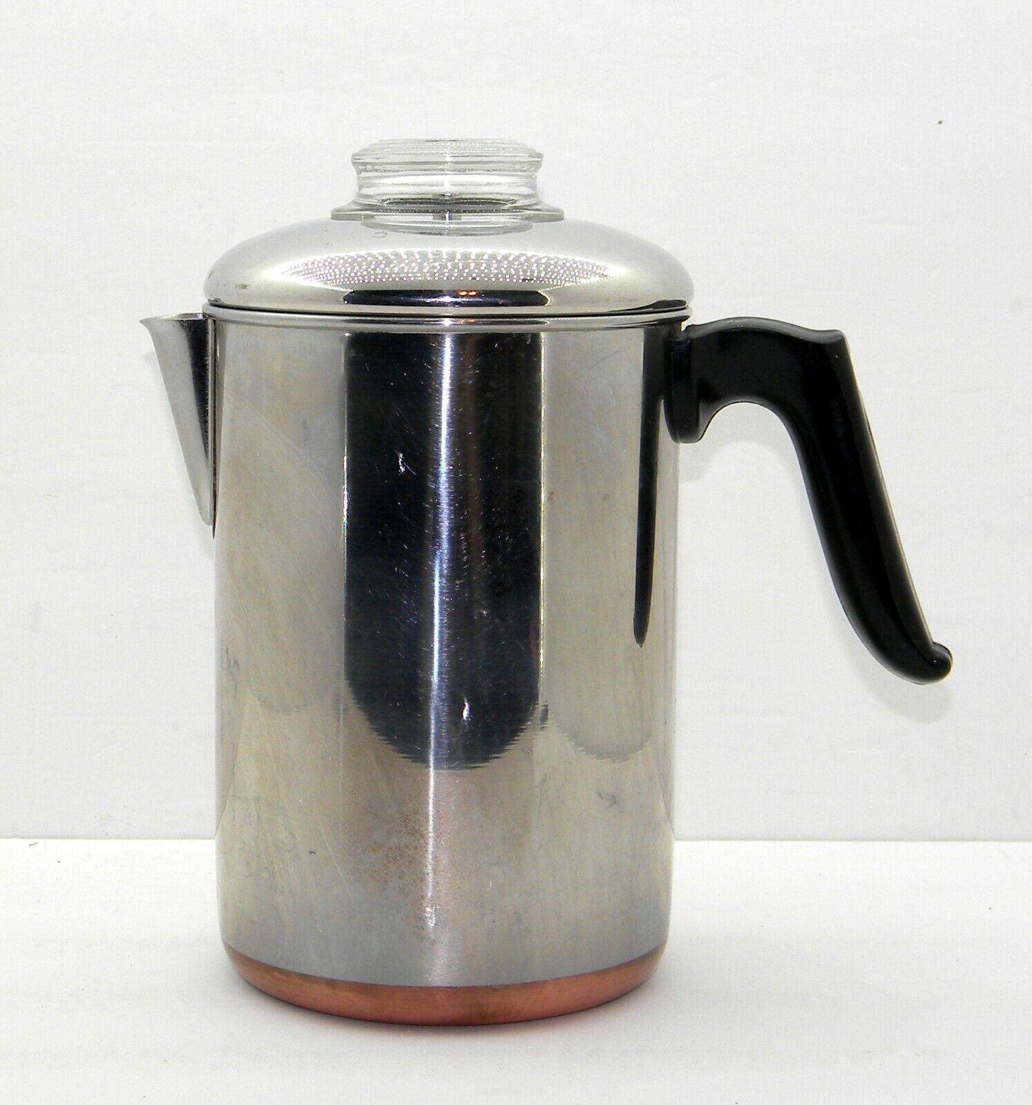 Vintage Revere Ware 1801 Percolator Copper Clad Bottom Coffe