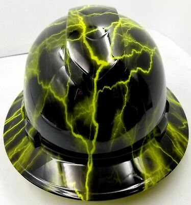 Hard Hat Custom Hydro Dipped Osha Approved Full Brim Lime Green Lightning