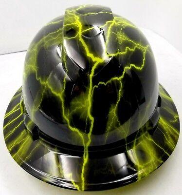 Hard Hat Custom Hydro Dipped Osha Approved Full Brim Lime Green Lightning
