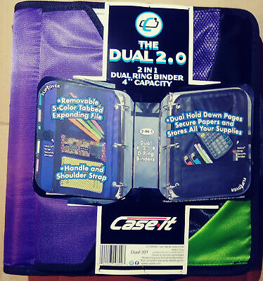 Case It The Dual Ring Binder 4 Capacity With Handle D-301 Purple