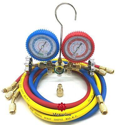 R134a R12 R22 Manifold Gauge Set HVAC AC Refrigeration Test w/5ft Charging Hoses R134a Charging Hose