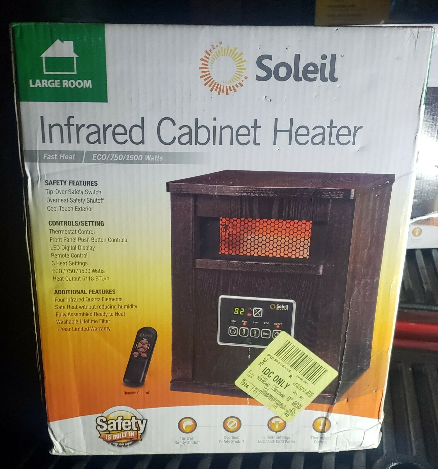 KZ Soleil WH-94H Infrared 4-Element Quartz Electric Room Hea