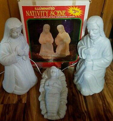 Grand Venture VTG Christmas Blow Mold Lighted Granite Look 3 Piece Nativity Set