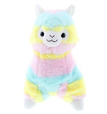 Fluffy Stuffed Animals (LARGE Rainbow Stripe Alpaca Llama Cute Fluffy Plush Doll Stuffed Animal 14 Inch)