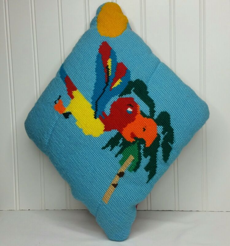 Vintage Completed Needlepoint Toucan or Parrot Pillow 17 x 10 Quirky Wool Yarn