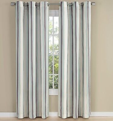 NEW - Stylemaster Belle Maison Walden Silver Gray and Mist Blue Striped Curtains for sale  Delmont