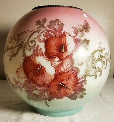 Antique Victorian Small Oil Lamp Shade Odd Size Hand Painted