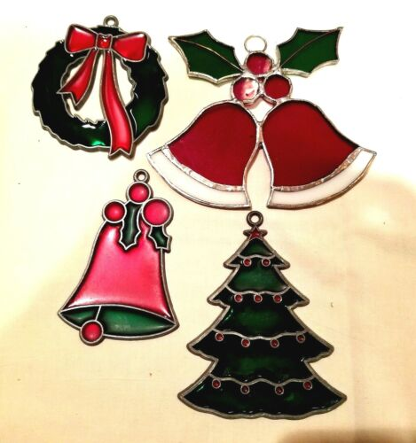 4 Suncatchers Ornaments Christmas Stained Glass & 3 Plastic MINT Condition 1970s