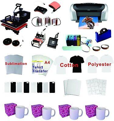 8in1 Professional Sublimation Heat Press Machine Epson Printer C88 Ciss Kit