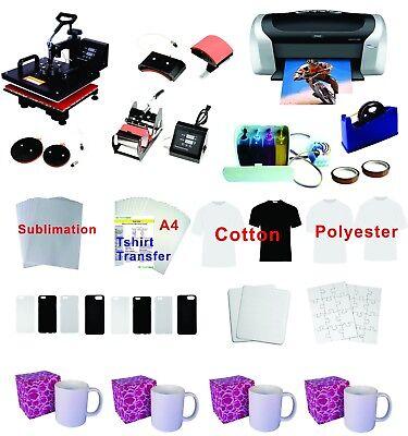 5in1 Professional Sublimation Heat Press Machine Epson Printer C88 Ciss Kit