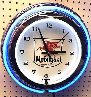 15  Mobil Mobilgas Socony Vacuum Pegasus Sign Double Neon Wall Clock Gas Oil