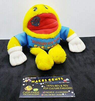 1980s - VINTAGE HUNGRY FOR YOU PAC-MAN ARCADE GAME PLUSH Knickerbocker Toys
