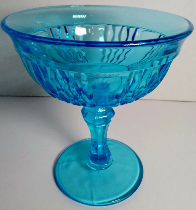 Turquoise Blue Glass Footed Compote Dish