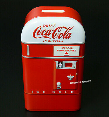 Coca Cola Vending Machine Piggy Bank Red Coke Tin Metal Box Collectible Gift