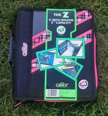 Nwt Case-it The Z 2-in-1 Zipper 3-ring Binder 3 Capacity Pink Z-176