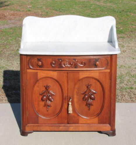 Victorian Walnut Marble Top Washstand Nightstand Carved Fruit~Signed~c1865~wkey