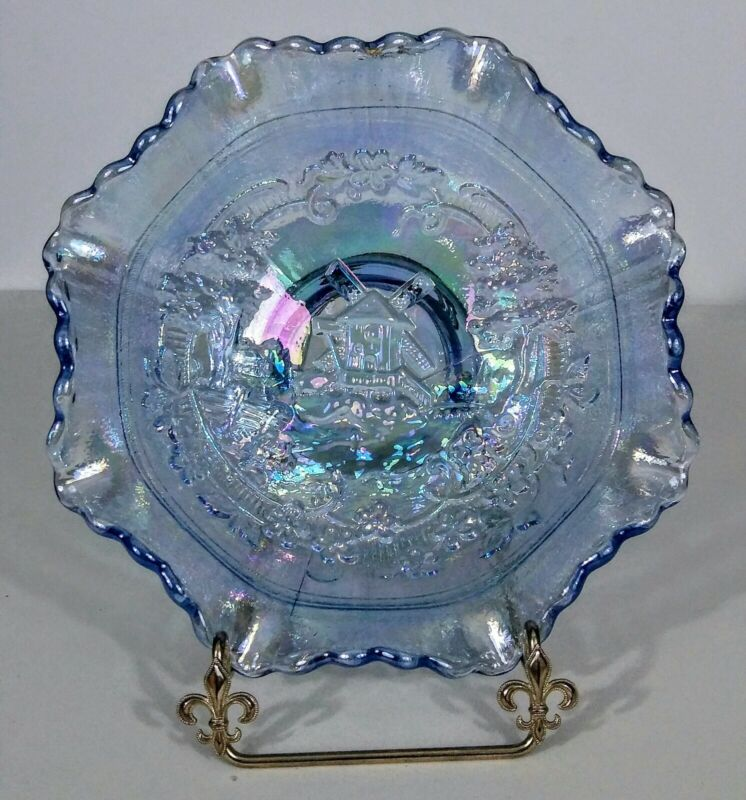 SMITH Glass Dutch Windmill Carnival Glass Bowl Blue Reissued Imperial Pattern